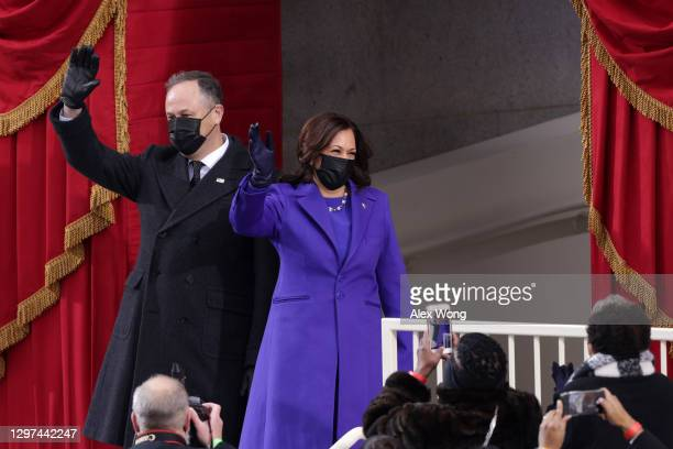 Vice President-elect Kamala Harris and her husband Doug Emhoff arrive to the inauguration of U.S. President-elect Joe Biden on the West Front of the...
