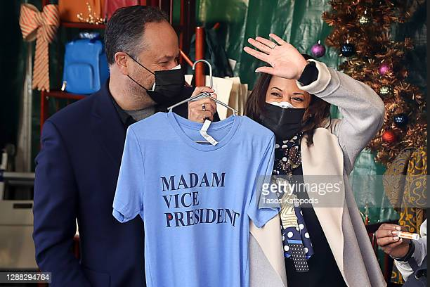 Vice President-elect Kamala Harris and her husband Doug Emhoff shop in the Downton Holiday Market on November 28, 2020 in Washington, DC. Vice...