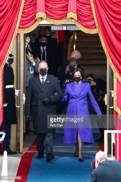 Vice President-elect Kamala Harris and husband Doug Emhoff arrive to the inauguration of U.S. President-elect Joe Biden on the West Front of the U.S....