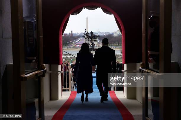 Vice President-elect Kamala Harris and husband Doug Emhoff arrive to the inauguration of U.S. President-elect Joe Biden on the West Front of the U.S....