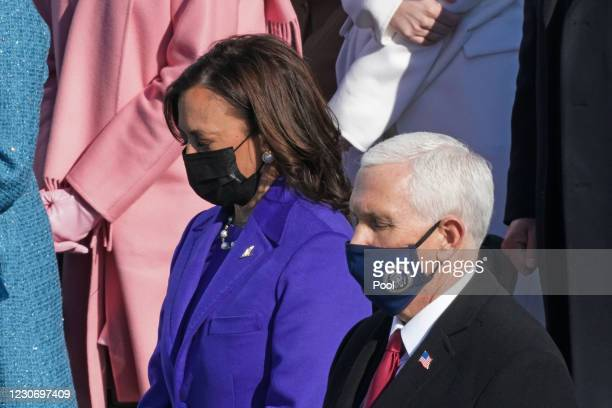 Vice President-elect Kamala Harris and U.S. Vice President Mike Pence during the inauguration of U.S. President-elect Joe Biden on the West Front of...