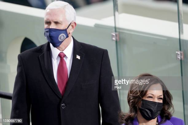 Vice President-elect Kamala Harris and Vice President Mike Pence are seen during the 59th Presidential Inauguration for President-elect Joe Biden and...
