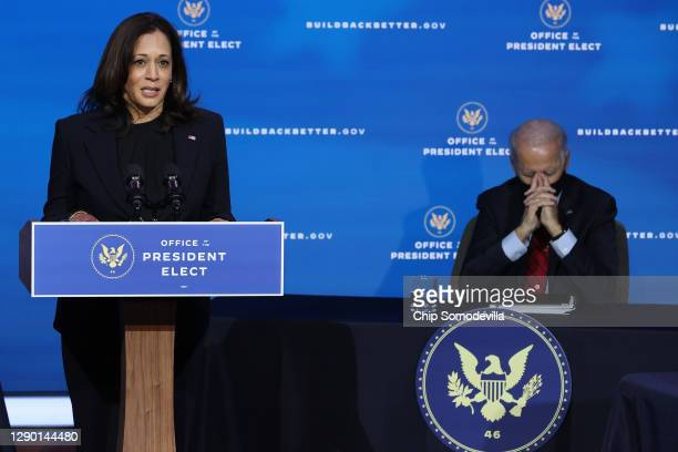 Vice President-elect Kamala Harris delivers remarks as she and President-elect Joe Biden announce the members of their health team at the Queen...