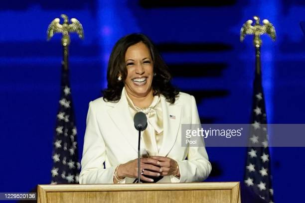 Vice President-elect Kamala Harris delivers remarks at the Chase Center before President-elect Joe Biden's address to the nation November 07, 2020 in...