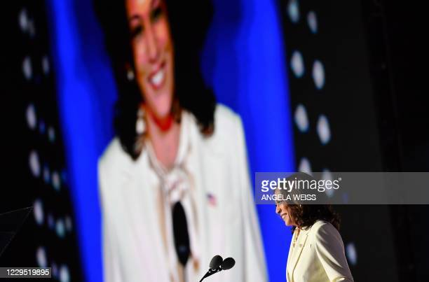 Vice President-elect Kamala Harris delivers remarks before introducing US President-elect Joe Biden in Wilmington, Delaware, on November 7 after...