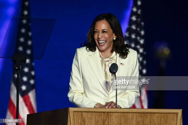 Vice President-elect Kamala Harris delivers remarks in Wilmington, Delaware, on November 7 after being declared the winner with Joe Biden of the...