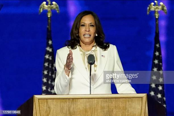 Vice President-elect Kamala Harris delivers remarks in Wilmington, Delaware, on November 7 after being declared the winners of the presidential...