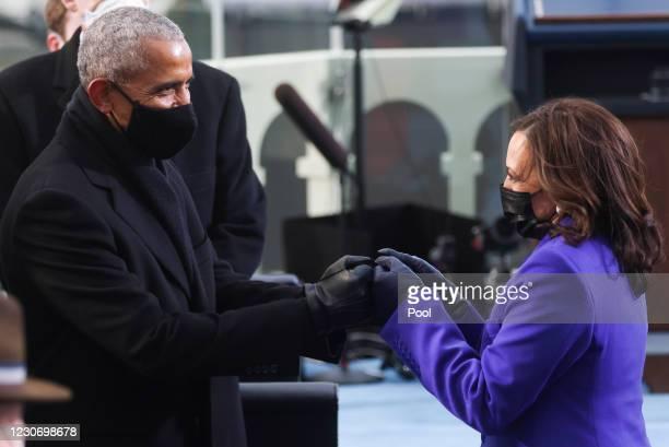 Vice President-elect Kamala Harris greets former U.S. President Barack Obama ahead of the inauguration of Joe Biden as the 46th President of the...