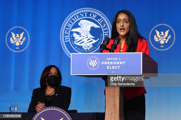 Vice President-elect Kamala Harris looks on as Vanita Gupta delivers remarks after being nominated to be U.S. Associate attorney general by...