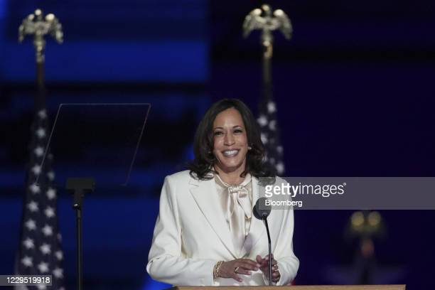 Vice President-elect Kamala Harris smiles while speaking during an election event in Wilmington, Delaware, U.S., on Saturday, Nov. 7, 2020. Joe Biden...