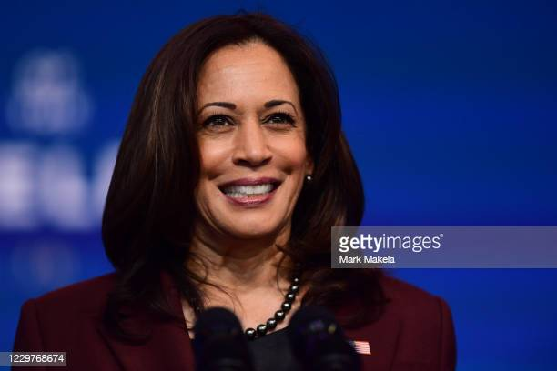Vice President-elect Kamala Harris speaks after President-elect Joe Biden introduced key foreign policy and national security nominees and...