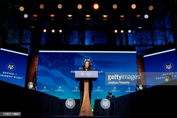 Vice President-elect Kamala Harris speaks after President-elect Joe Biden announced members of his climate and energy appointments at the Queen...