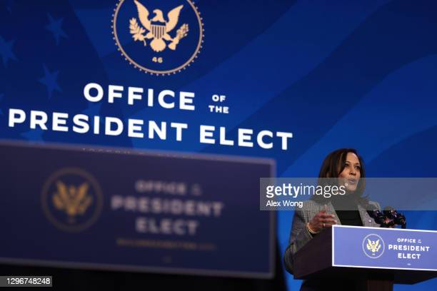 Vice President-elect Kamala Harris speaks during an announcement January 16, 2021 at the Queen theater in Wilmington, Delaware. President-elect Joe...
