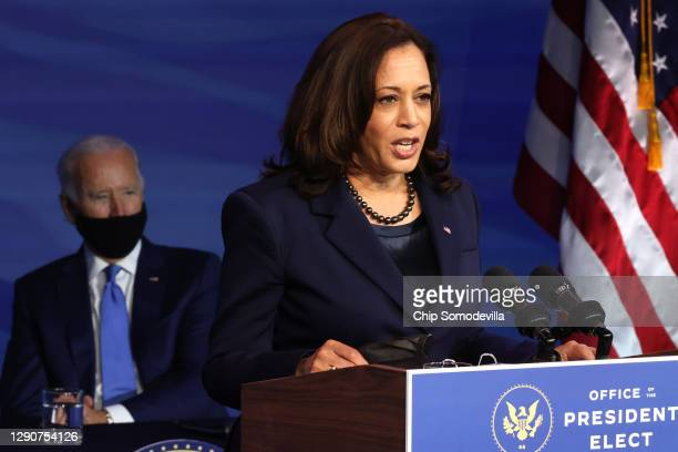 Vice President-elect Kamala Harris speaks during an event to announce new cabinet nominations at the Queen Theatre on December 11, 2020 in...