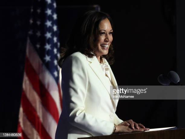 Vice President-elect Kamala Harris speaks on stage at the Chase Center before President-elect Joe Biden's address to the nation November 07, 2020 in...