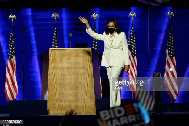 Vice President-elect Kamala Harris takes the stage at the Chase Center before President-elect Joe Biden's address to the nation November 07, 2020 in...