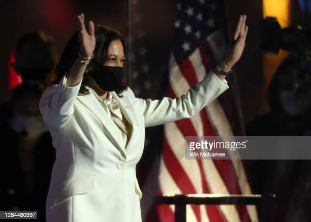 Vice President-elect Kamala Harris takes the stage at the Chase Center for President-elect Joe Biden's address the nation November 07, 2020 in...
