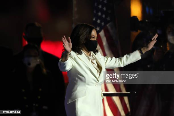 Vice President-elect Kamala Harris takes the stage at the Chase Center for President-elect Joe Biden's address to the nation November 07, 2020 in...