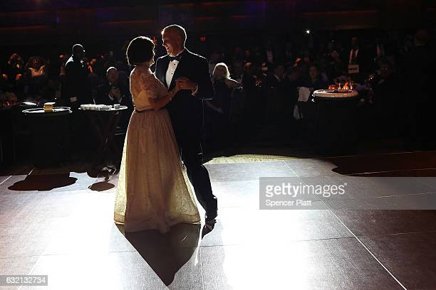 Vice President-elect Mike Pence and his wife Karen Pence take the first dance at the Indiana Society Ball on January 19, 2017 in Washington, DC....
