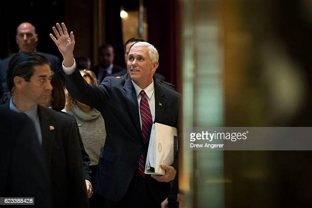 Vice Presidentelect Mike Pence arrives at Trump Tower November 15 2016 in New York City Presidentelect Donald Trump is in the process of choosing his...