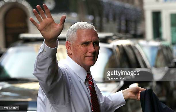 Vice Presidentelect Mike Pence arrives at Trump Tower on December 15 2016 in New York City PresidentElect Donald Trump continues to hold meetings...