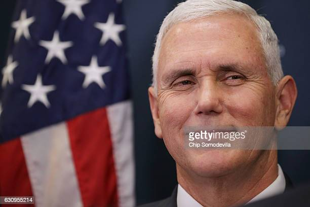 S Vice Presidentelect Mike Pence joins House Republicans for a news conference following a conference meeting at the US Capitol January 4 2017 in...