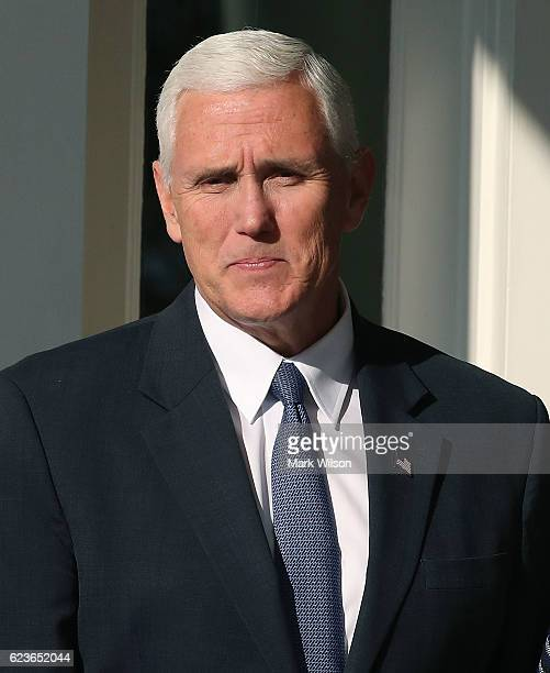 Vice Presidentelect Mike Pence leaves the Naval Observatory on November 16 2016 in Washington DC Pence and his wife Karen attended a luncheon hosted...
