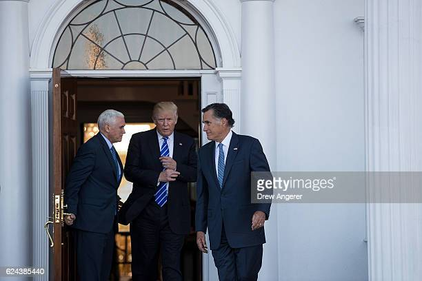 Vice presidentelect Mike Pence Presidentelect Donald Trump and Mitt Romney leave the clubhouse after their meeting at Trump International Golf Club...