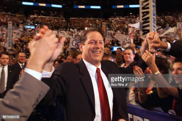 Vice Presidential candidate Al Gore enters the Staples Center at the Democratic National Convention on August 17 2000 in Los Angeles CA