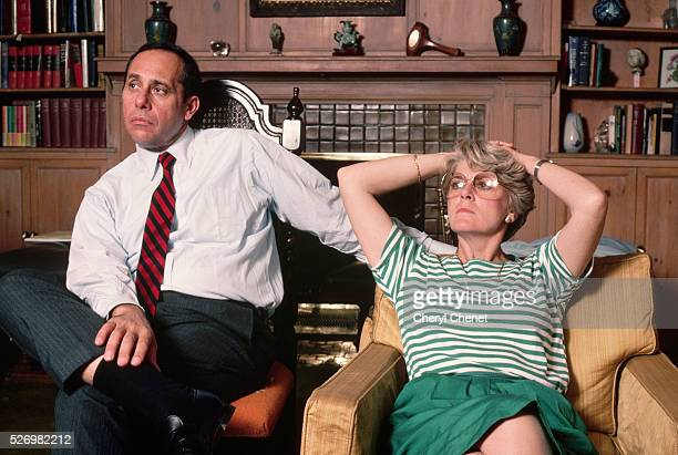 Vice presidential candidate Geraldine Ferraro sits at home with her husband, John A. Zaccaro. | Location: Borough of Queens, New York, New York, USA.
