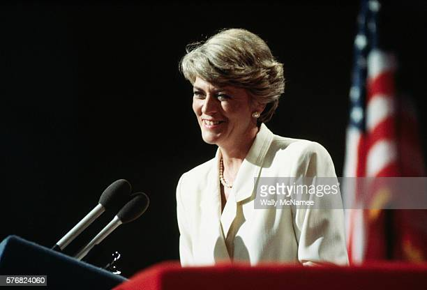 Vice Presidential candidate Geraldine Ferraro speaks to the 1984 Democratic Convention and accepts their nomination