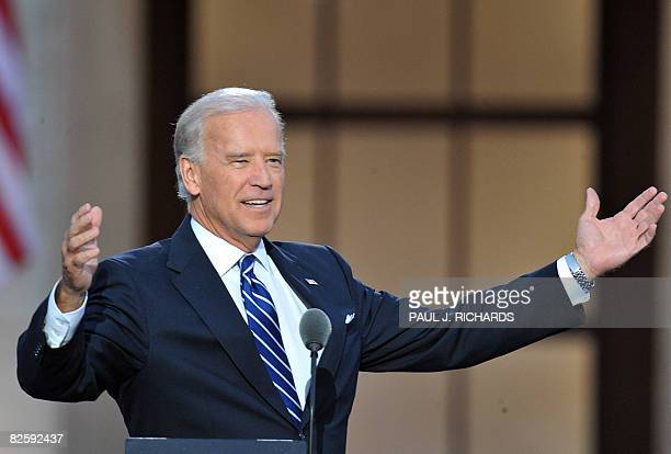 Vice Presidential candidate Joe Biden acknowledges the crowd at the Democratic National Convention 2008 at the Invesco Field in Denver Colorado on...