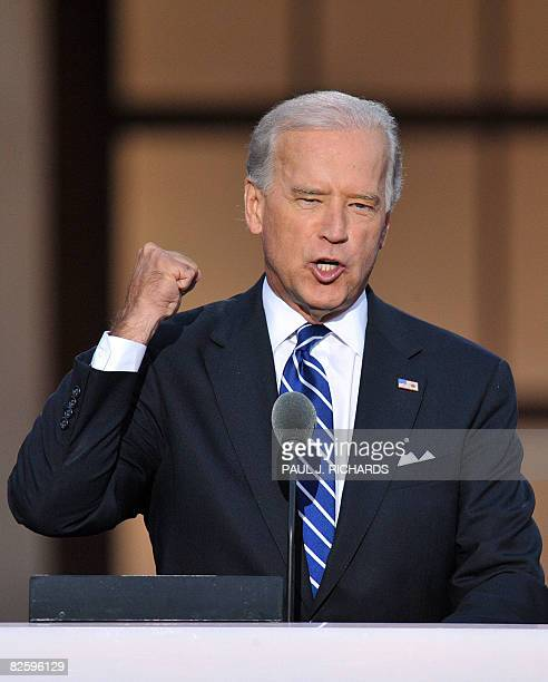 Vice Presidential candidate Joe Biden speaks to the crowd at the Democratic National Convention 2008 at the Invesco Field in Denver Colorado on...