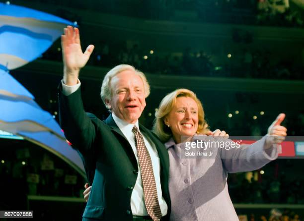 Vice Presidential candidate Joe Lieberman and wife Hadassah wave to the crowd after his acceptance speech at the Democratic National Convention on...