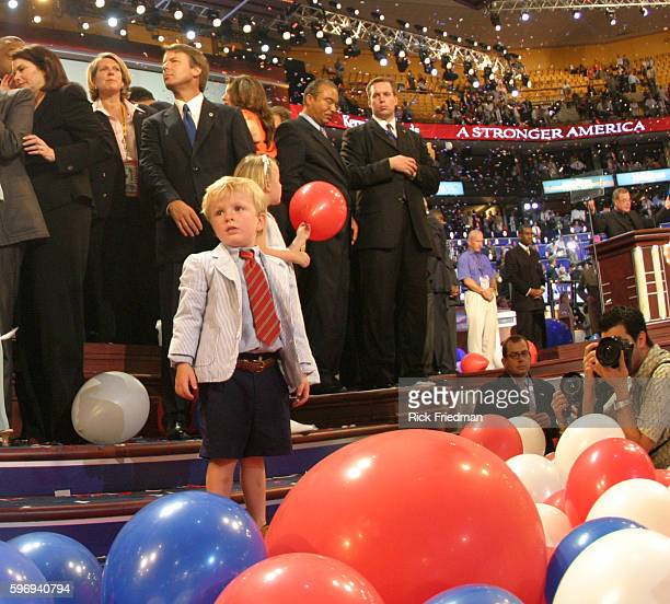Vice Presidential candidate John Edwards and son Jack on stage during the last night of the Democratic National Convention in Boston