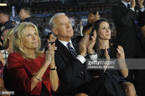US Vice Presidential nominee Joseph Biden his wife Jill and daughter Ashley applaud as Presidential nominee Barack Obama speaks at the Democratic...