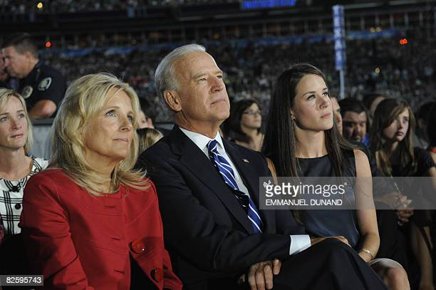 US Vice Presidential nominee Joseph Biden his wife Jill and daughter Ashley listen to Presidential nominee Barack Obama speak at the Democratic...