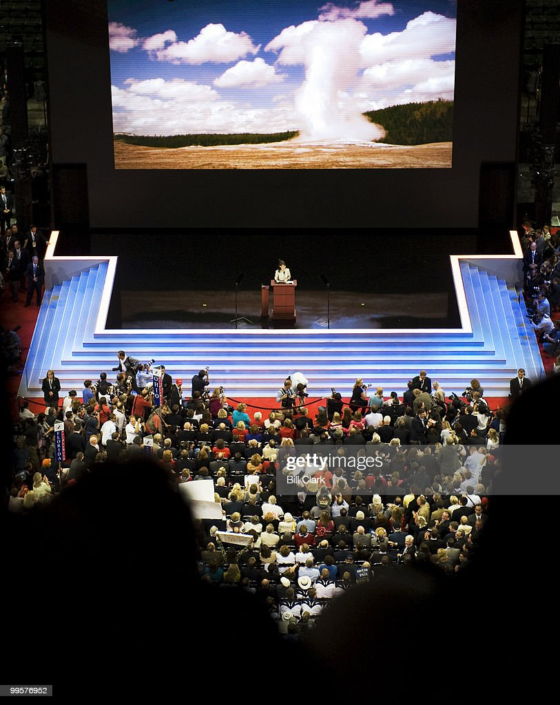 Vice presidential nominee Sarah Palin speaks on the floor of the Republican National Convention at the Xcel Center in St. Paul, Minn., on Wednesday, Sept. 3, 2008.