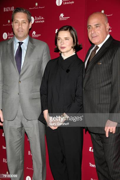 Vice President/Publisher of Town Country Magazine Jim Taylor Actress Isabella Rossellini and Kevin Martinez of Harper's Bazaar Magazine attend the...