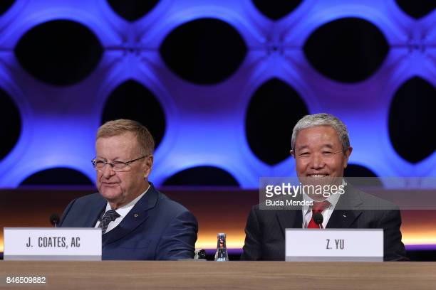 Vice Presidents John Coates and Zaiqing Yu during the 131th IOC Session 2024 2028 Olympics Hosts Announcement at Lima Convention Centre on September...