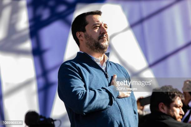 Vice prime minister and minister for Interior affairs Matteo Salvini seen during the event The league party held a political rally with the phrase...