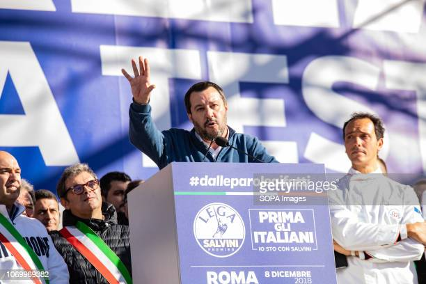 Vice prime minister and minister for Interior affairs Matteo Salvini seen speaking during the event The league party held a political rally with the...
