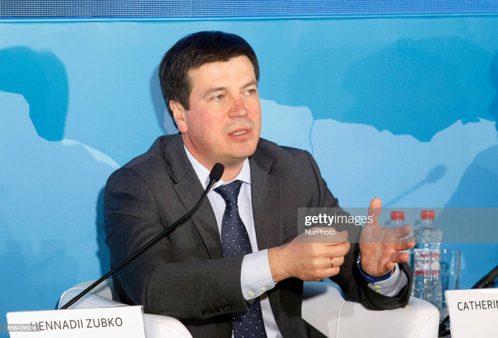 "Vice Prime Minister of Ukraine Hennadii Zubko speaks during the ""Kyiv International Economic Forum"" in Kiev, Ukraine,06 October , 2017."