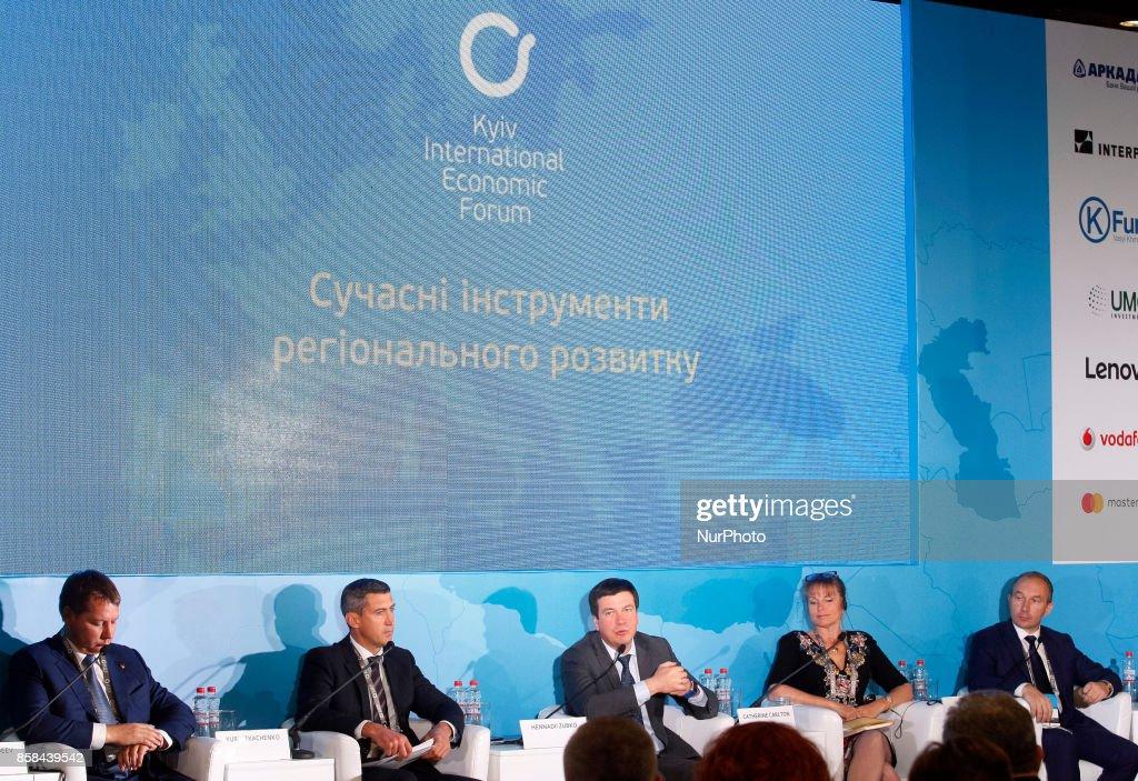 "Vice Prime Minister of Ukraine Hennadii Zubko (C) speaks during the ""Kyiv International Economic Forum"" in Kiev, Ukraine,06 October , 2017."