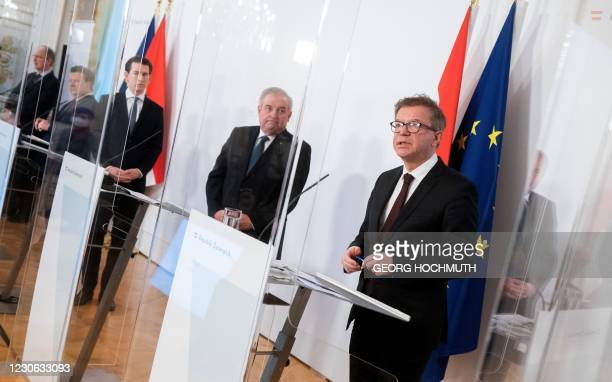 Vice Rektor of the MedUni Vienna Oswald Wagner, Vienna's Mayor Michael Ludwig, Austrian Chancellor Sebastian Kurz, and Styrian governor Hermann...