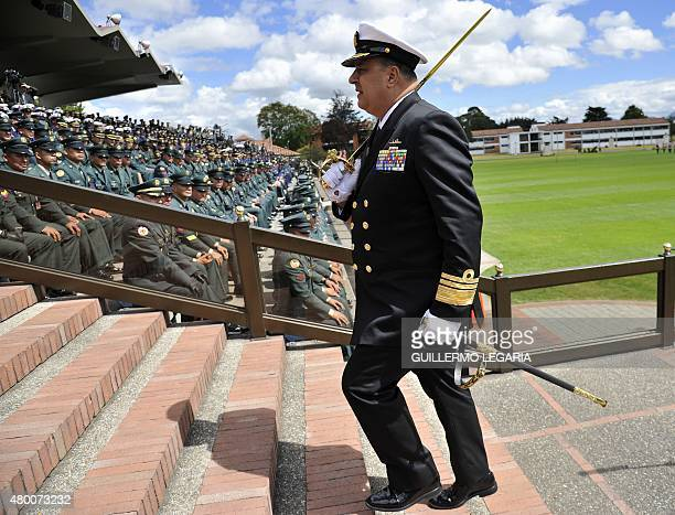 Viceadmiral Leonardo Santamaria attends a military ceremony in Bogota on July 9 in which he sworn as new Colombia's Commander of the Navy AFP PHOTO /...