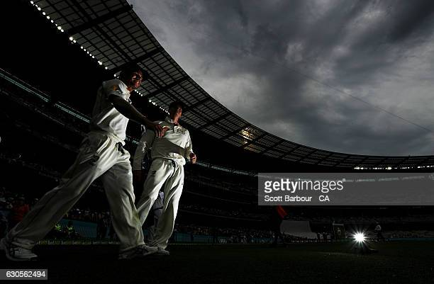 Vicecaptain David Warner and captain Steven Smith of Australia lead their side onto the field during day two of the Second Test match between...