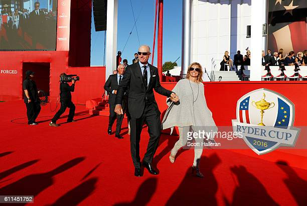Vicecaptain Jim Furyk of the United States and Tabitha Furyk attend the 2016 Ryder Cup Opening Ceremony at Hazeltine National Golf Club on September...