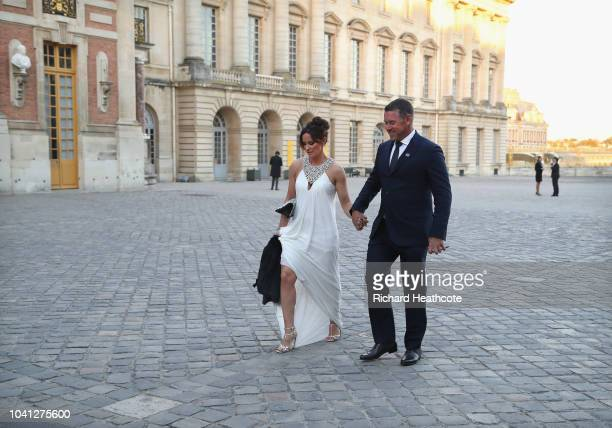 ViceCaptain Lee Westwood and girlfriend Helen Storey walk in after arriving at the Palace of Versailles for the Ryder Cup Gala dinner ahead of the...