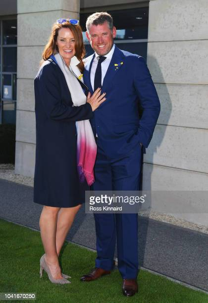 ViceCaptain Lee Westwood of Europe and girlfriend Helen Storey prior to the 2018 Ryder Cup at Le Golf National on September 27 2018 in Paris France
